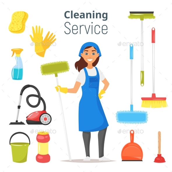 GraphicRiver Cleaning Service Woman Character 21007202