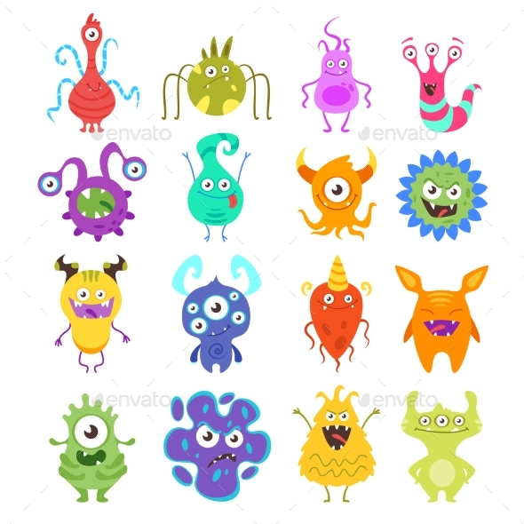 Set of Colorful Bacteria - Miscellaneous Characters
