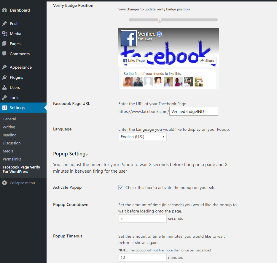 Facebook Page Verify For WordPress