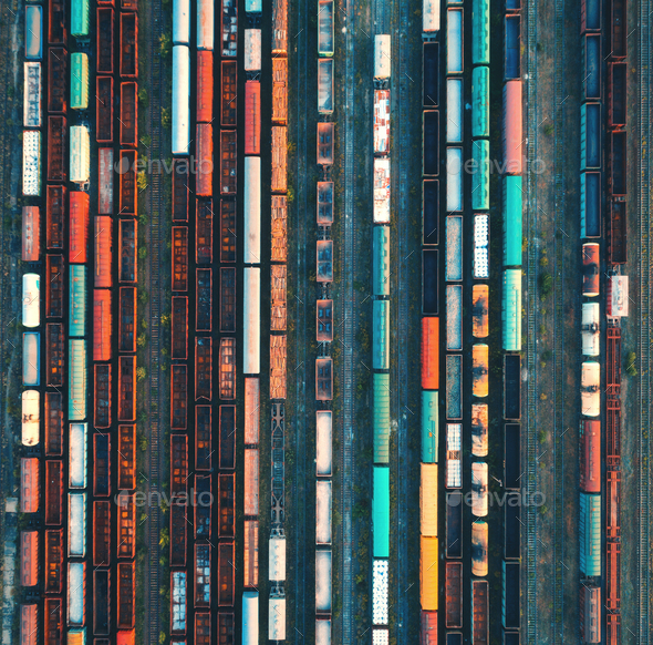 Top view of colorful cargo trains. Aerial view - Stock Photo - Images