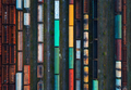 Top view of colorful cargo trains. Aerial view - PhotoDune Item for Sale