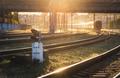Colorful industrial landscape with railway platform, semaphore - PhotoDune Item for Sale