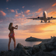 Beutiful woman makes photo of landing aircraft - PhotoDune Item for Sale