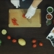 Cutting Pepper on Board with Chef Hands - VideoHive Item for Sale