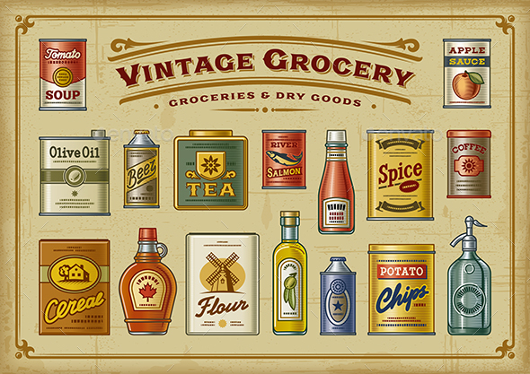 GraphicRiver Vintage Grocery Set 21007953