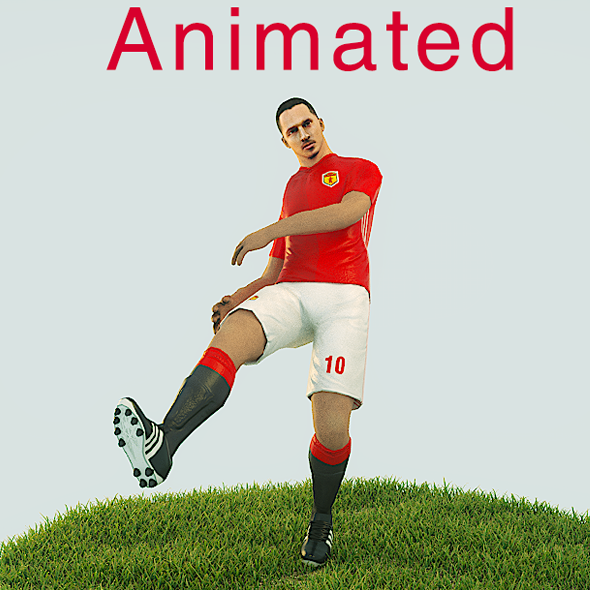 3DOcean Zlatan Ibrahimovic Game Ready Football Player Kick Animation 21008169
