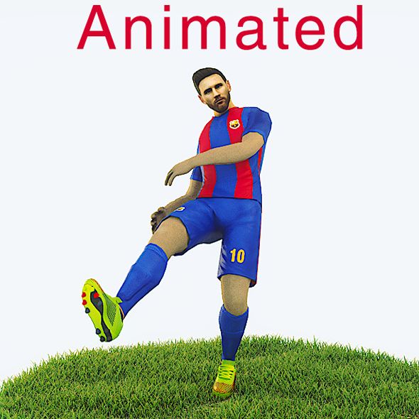 Lionel Messi Game Ready Football Player Kick Animation - 3DOcean Item for Sale