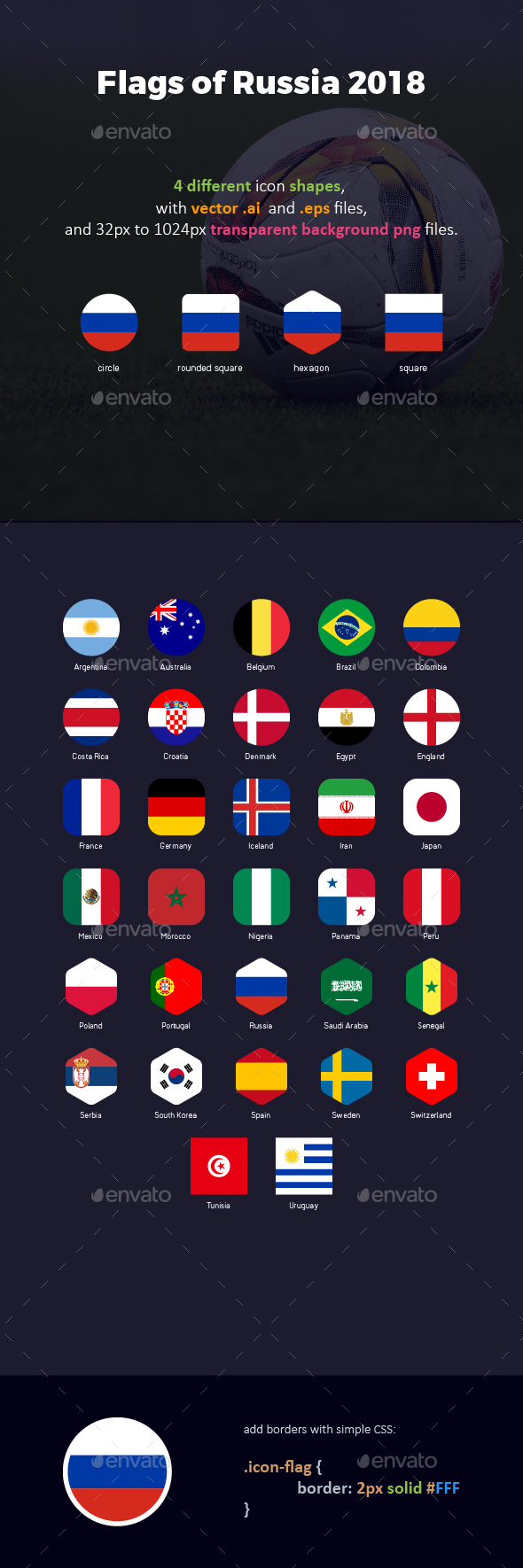 GraphicRiver Flags of Russia Football Cup 2018 Flag Icons 21008270