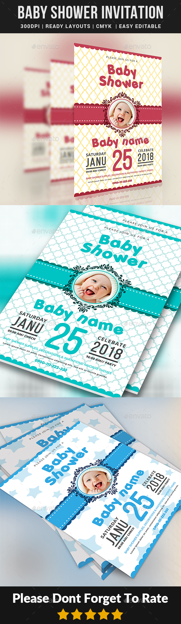 GraphicRiver Baby Shower Invitation Templates 21008280
