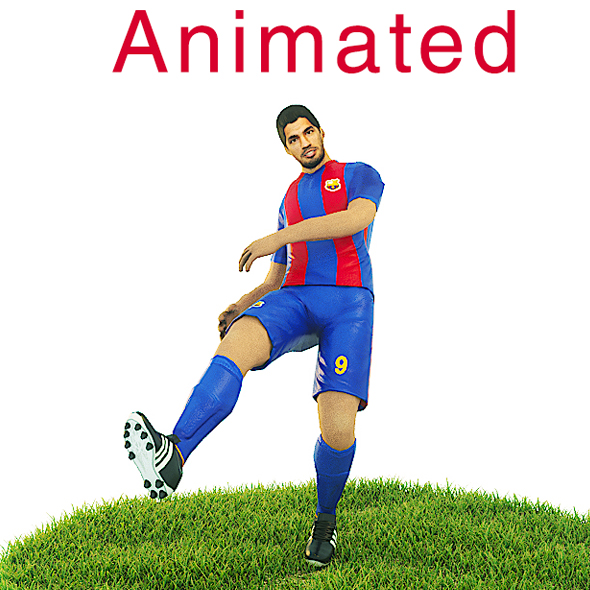 Luis Suarez Game Ready Football Player Kick Animation - 3DOcean Item for Sale