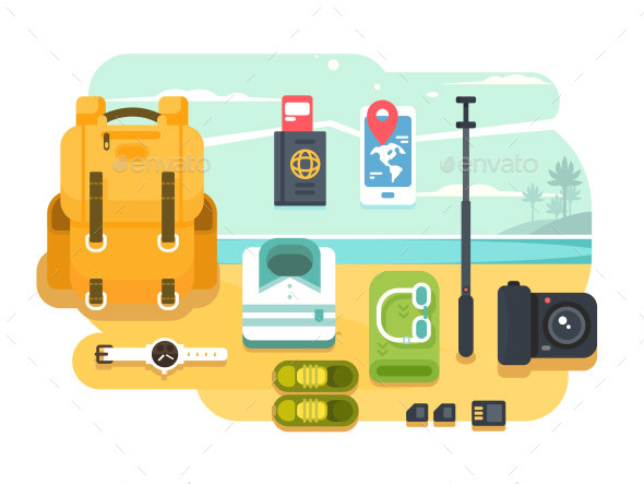 GraphicRiver Travel or Vacation Accessories Flat Design 21008298