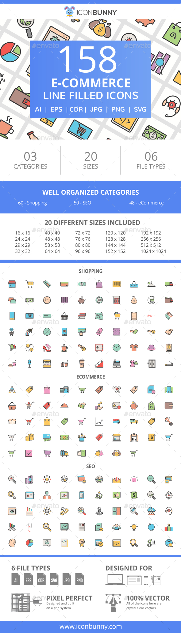 GraphicRiver 158 E-Commerce FIlled Line Icons 21008300