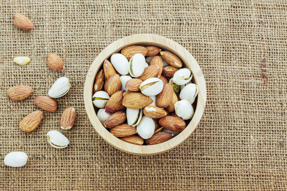 Almonds in a bowl - Stock Photo - Images