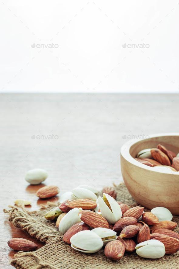 Almonds on sacks - Stock Photo - Images