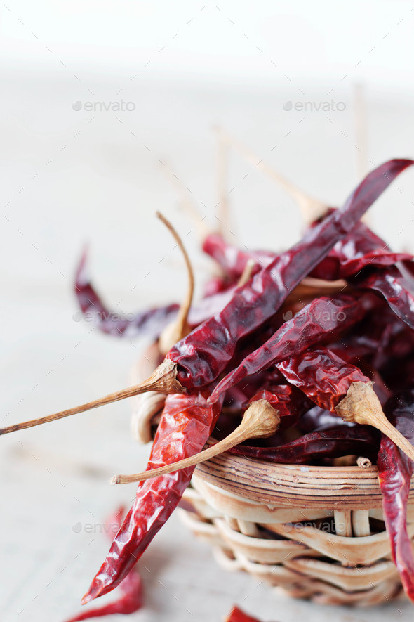 Dried chilly on wooden - Stock Photo - Images