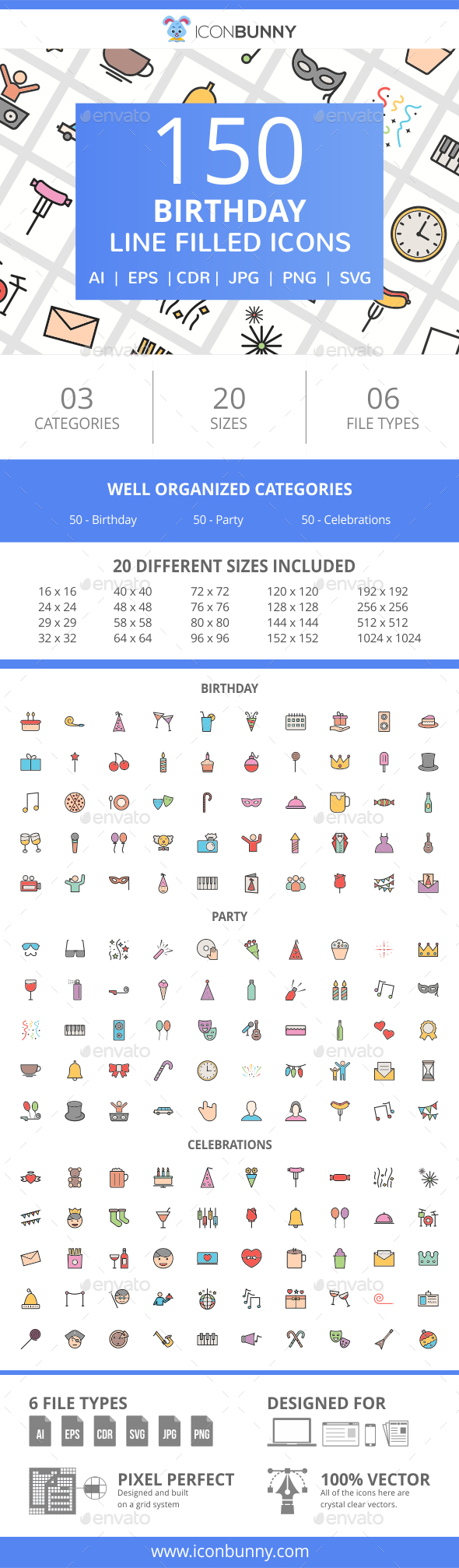 150 Birthday Filled Line Icons - Icons