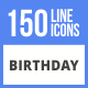 150 Birthday Filled Line Icons