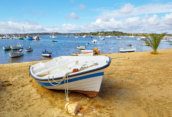 Fishermens boats in Alvor city - Stock Photo - Images