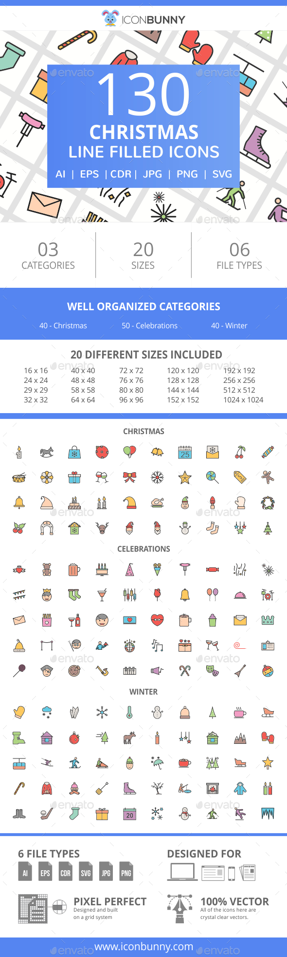 130 Christmas Filled Line Icons - Icons