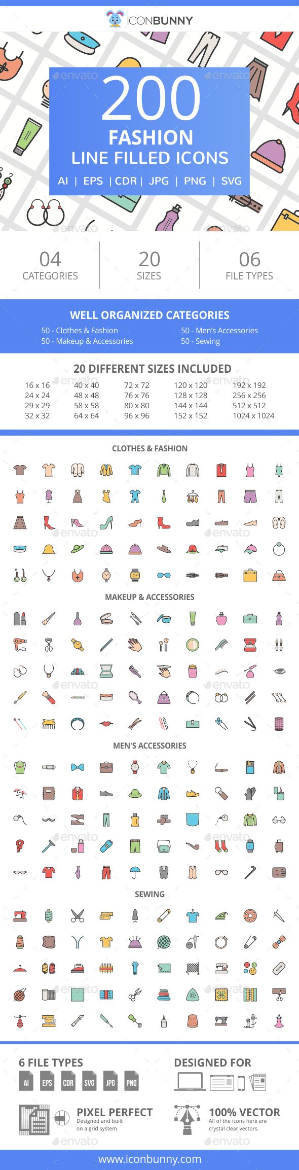 GraphicRiver 200 Fashion Filled Line Icons 21008400