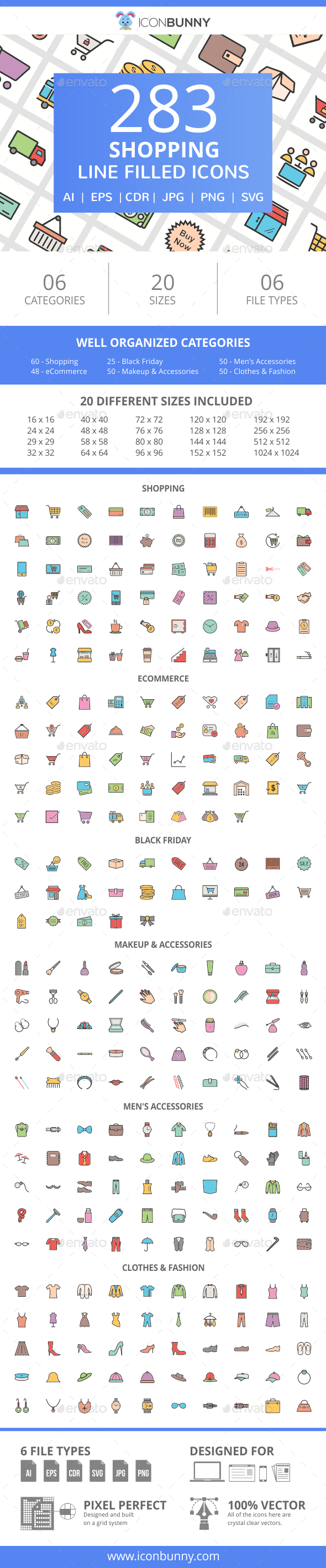 GraphicRiver 283 Shopping Filled Line Icons 21008569