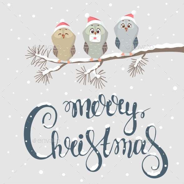 GraphicRiver Owl Christmas 21008760