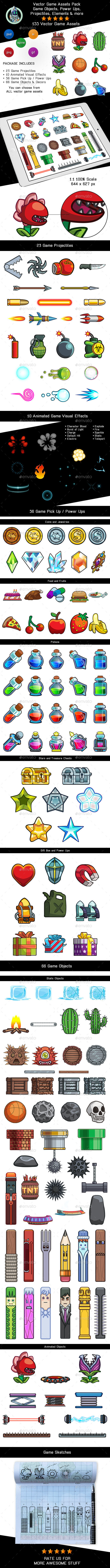 Vector Game Assets Pack - Objects, Power Ups, VFX and Elements - Objects Vectors
