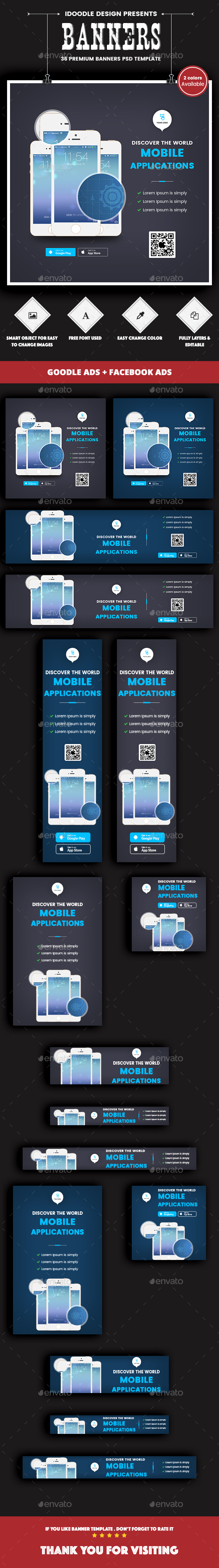 Mobile Applications Banners Ads - 2 Colors Available [36 PSD] - Banners & Ads Web Elements