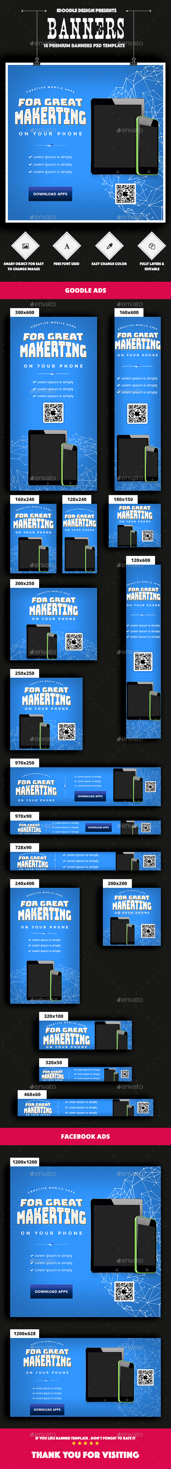 GraphicRiver Mobile Applications Banners Ads 21008791