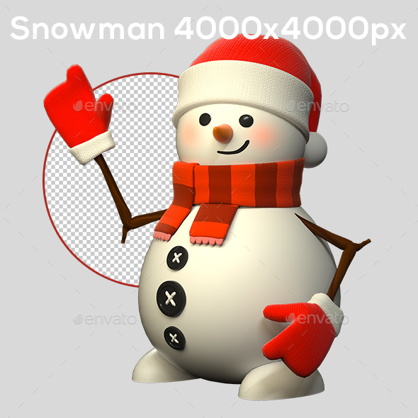 3D Snowman - Characters 3D Renders