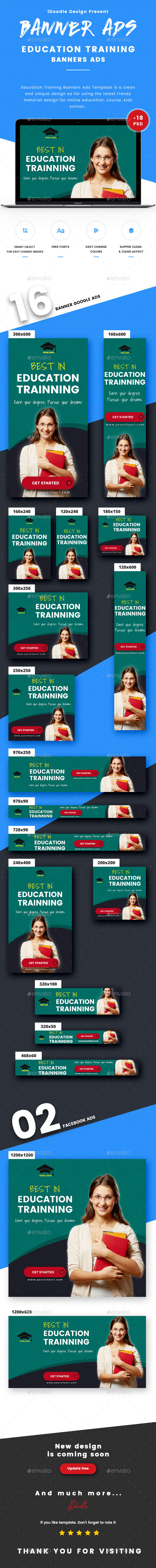 Education Training Banners Ads - Banners & Ads Web Elements