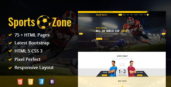 ThemeForest SportsZone Sports Club New & Game Magazine Mobile Responsive Bootstrap HTML Template 19574170