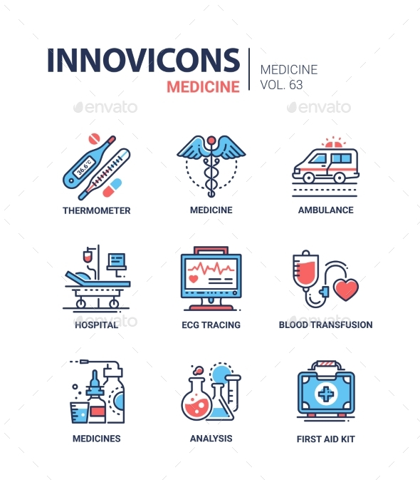 GraphicRiver Medicine Line Design Icons Set 21008914