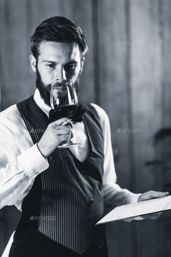 Sommelier tasting wine - Stock Photo - Images