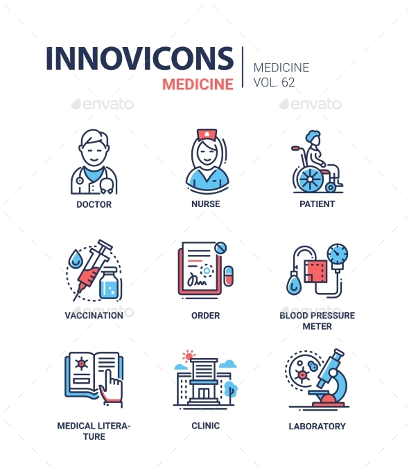 GraphicRiver Medicine Line Design Icons Set 21008916