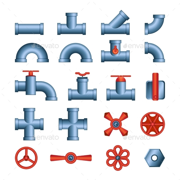 Set of Pipes and Valves - Modern Vector Isolated - Man-made Objects Objects