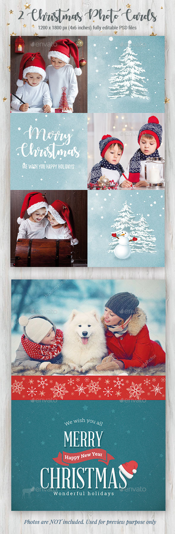 2 Christmas Photo Cards - Cards & Invites Print Templates