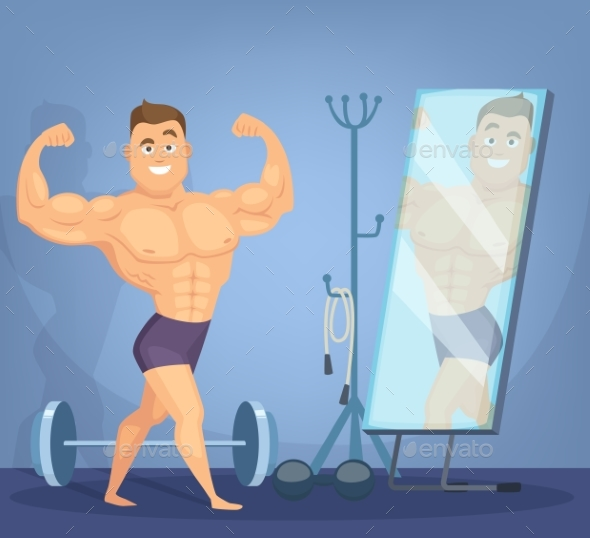 Muscular Man Posing a Front of Mirror - People Characters