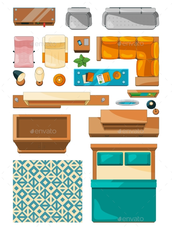 GraphicRiver Different Icons of Furniture Top View 21009120