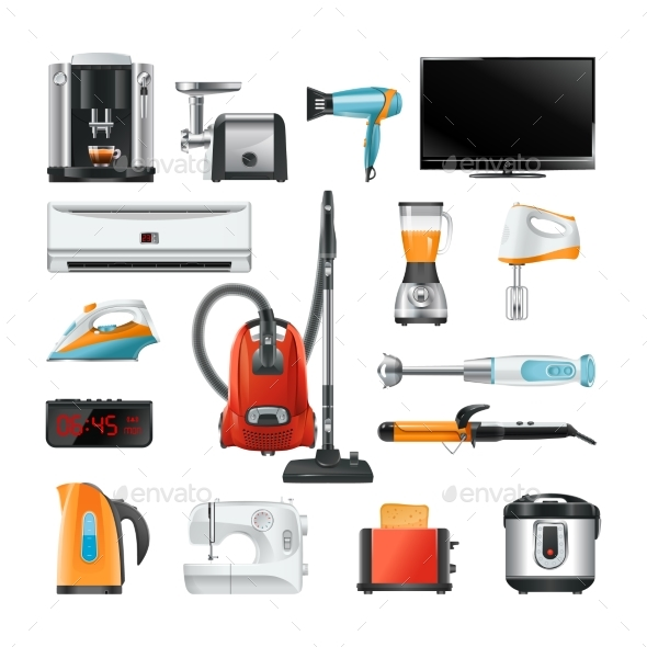 Electronic Household Equipment Isolated on White - Man-made Objects Objects