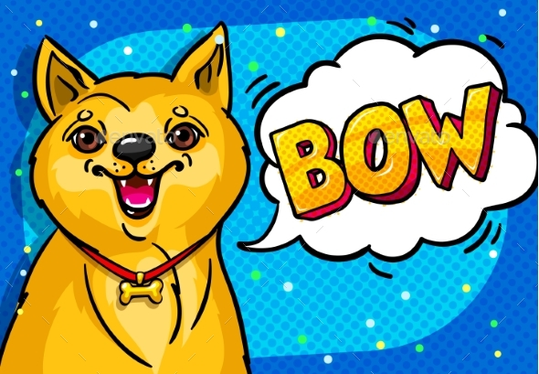 Dog with Open Mouth and Speech Bubble - Animals Characters