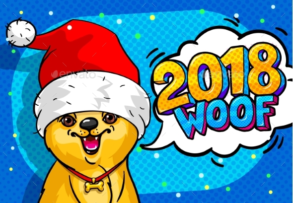 GraphicRiver Dog in Santa Claus Hat with Open Mouth and Speech 21009180