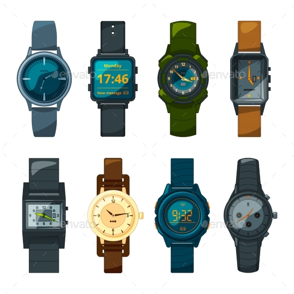 GraphicRiver Set of Different Hand Watches for Male and Female 21009206