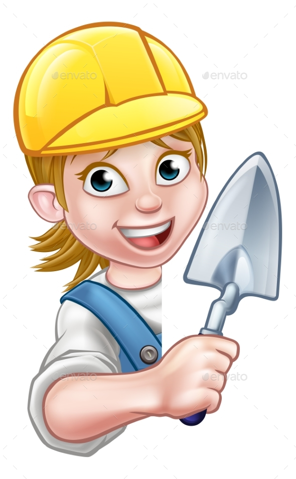 Builder Bricklayer Construction Worker Trowel Tool - People Characters