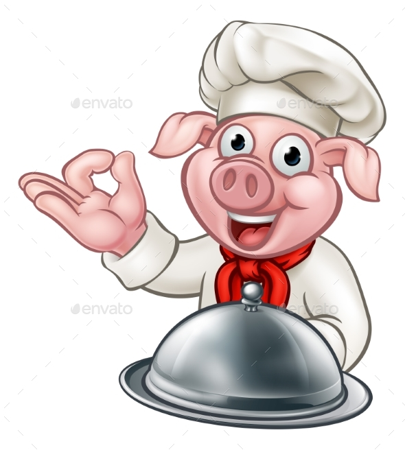 GraphicRiver Pig Chef Cartoon Character 21009288