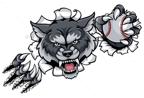 Wolf Baseball Mascot Breaking Background - Sports/Activity Conceptual
