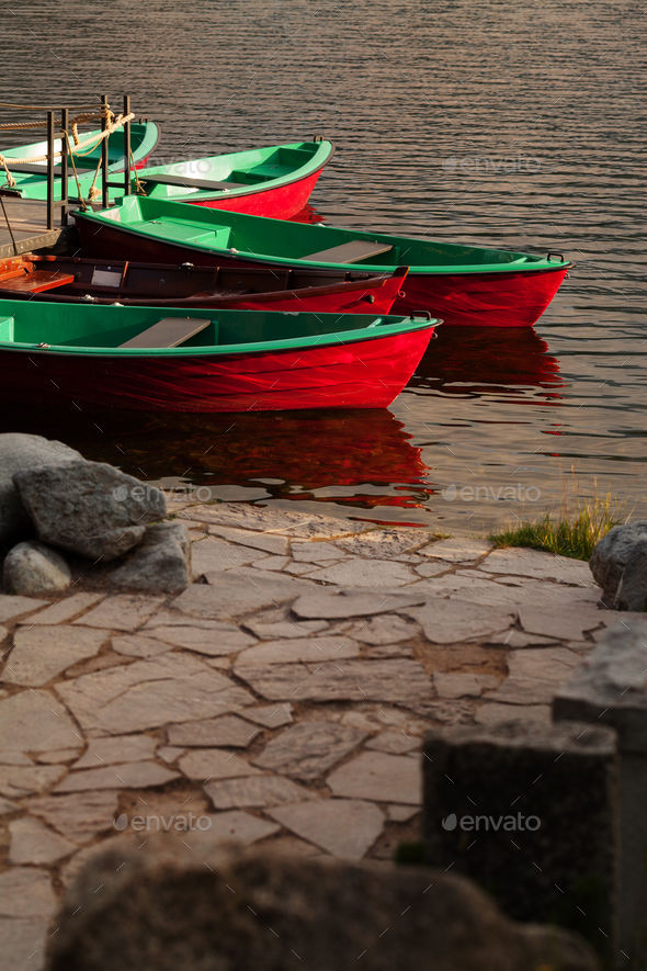 Boat station on the lake - Stock Photo - Images