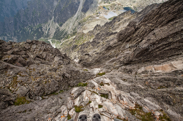Stunning view from the steep cliff on Lomnicky Stit peak - Stock Photo - Images