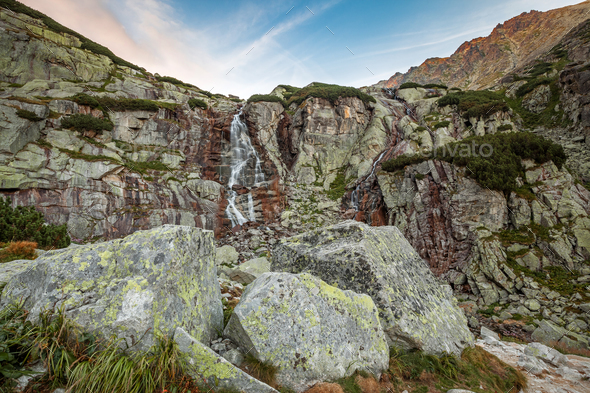 Waterfall mountain landscape - Stock Photo - Images