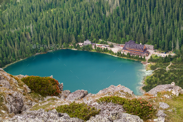 Popradske pleso lake with touristic shell house - Stock Photo - Images